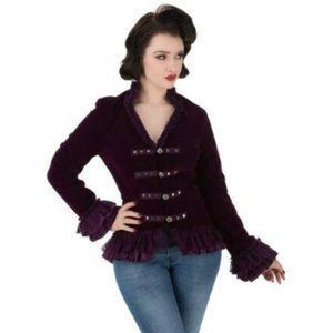 Hearts and Roses purple velvet steampunk coat